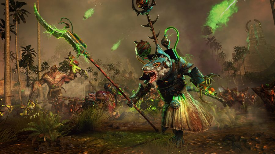 A Skaven warlock with a green aura. Other Skaven in the background are decimating the lizards.