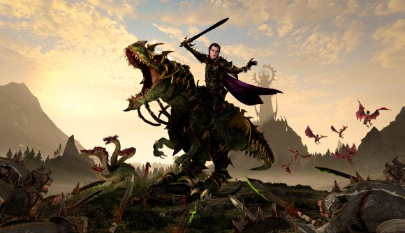 An elf riding on top of a dinosaur is brandishing a sword and wearing dark armour. The dinosaur is roaring menacingly.