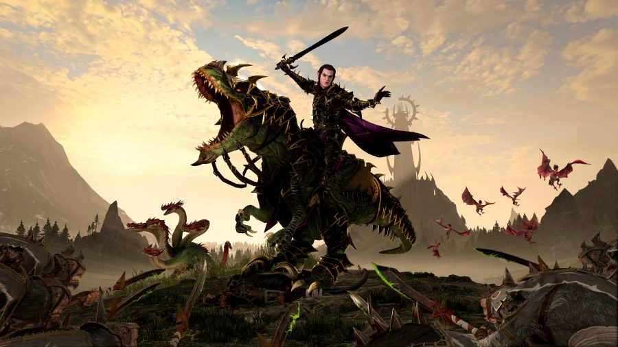 An elf riding on top of a dinosaur is brandishing a sword and wearing dark armour. The dinosaur is roaring menacingly at the Skaven below.