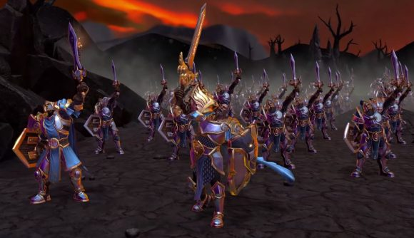 A legion of Alliance footmen cheering as they prepare to charge into battle. Their leader is a bald fellow wearing splendent armour.