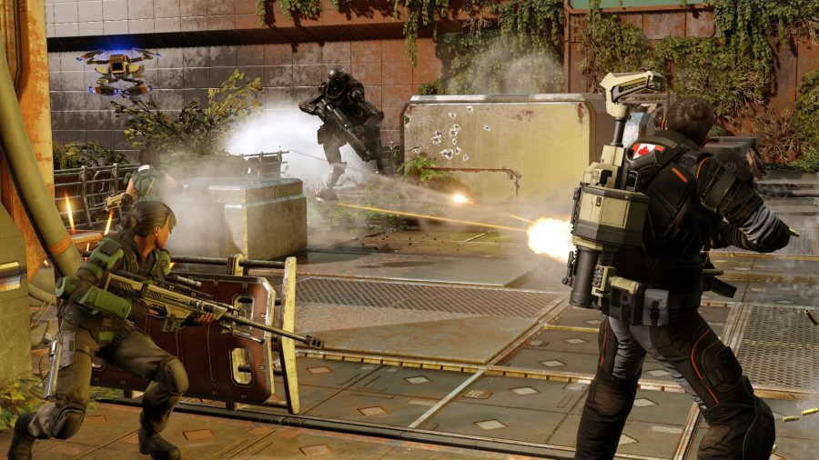 a man with a gatling gun fires at a robotic enemy. another soldier crouches behind cover