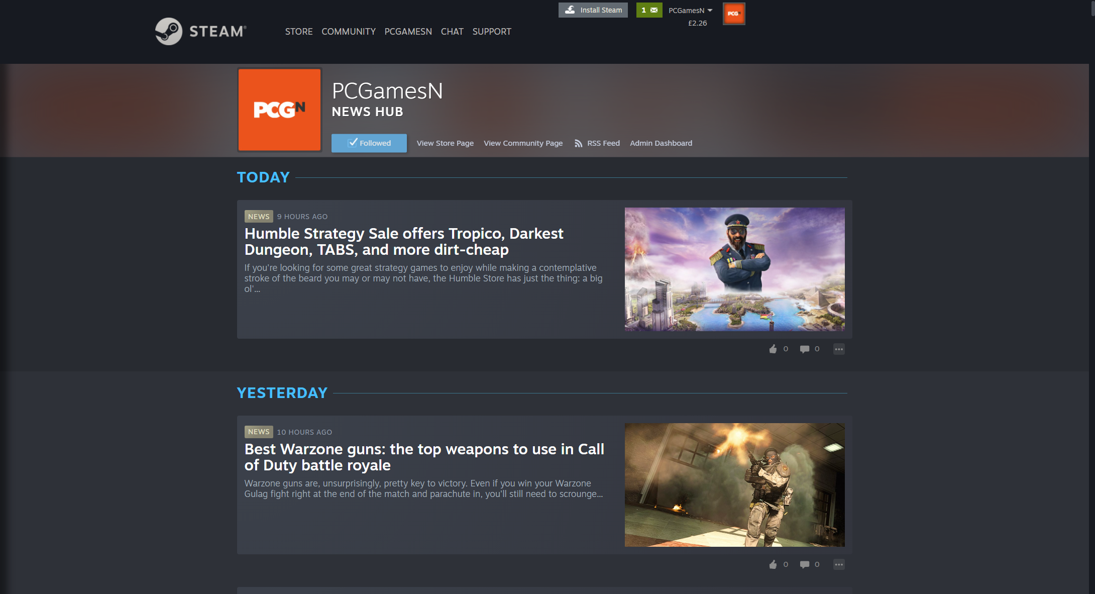 Follow us on Steam News Hub
