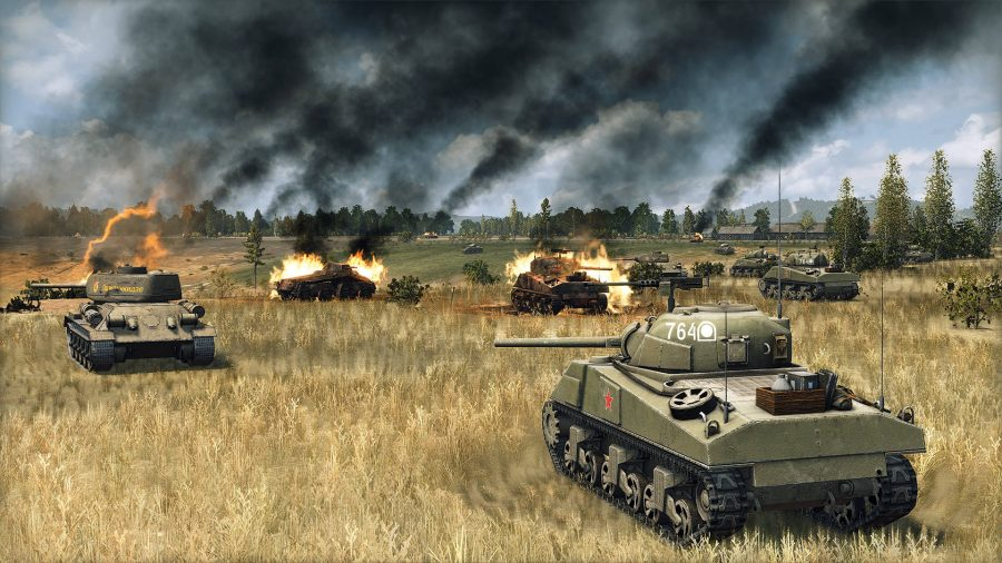 Some tanks are on fire in Steel Division 2; one of the best tank games on PC