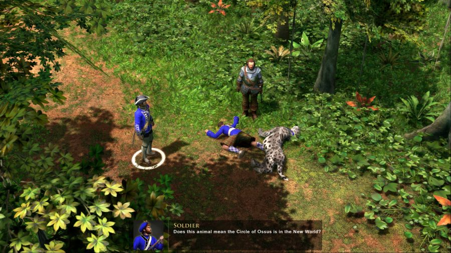 An in-game cutscene - two men stand over the corpses of a soldier and a large cat