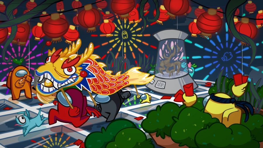 Among Us characters celebrating Lunar New Year, running through a ship performing a dragon dance