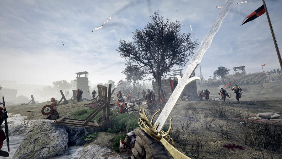Mordhau first-person battle with sword in hand