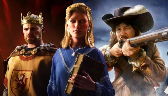 Three rulers from Crusader Kings 3 and Europa Universalis 4 appear in a composite illustration.