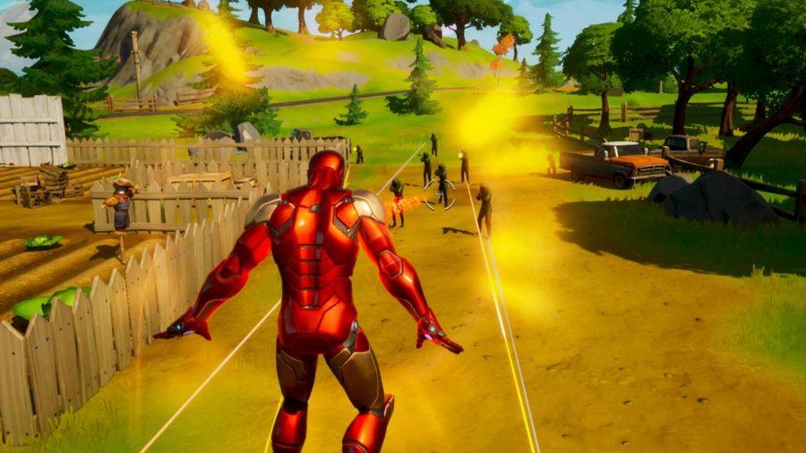 Iron Man floating towards enemies in Fortnite