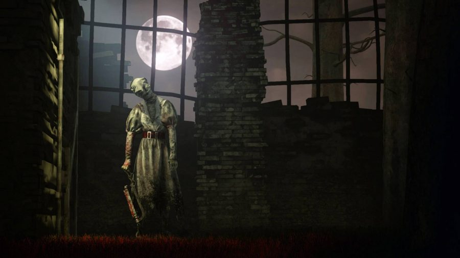 A ghost with a chainsaw standing in front of a full moon