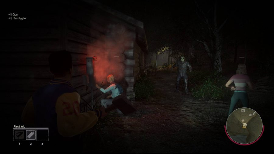 A group of teenagers and an approaching Jason Voorhees