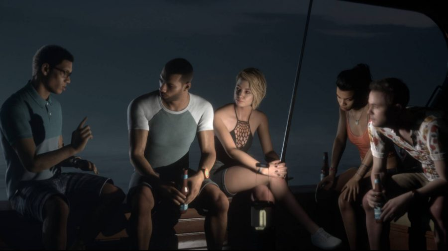 A group of friends sat around chatting on a boat