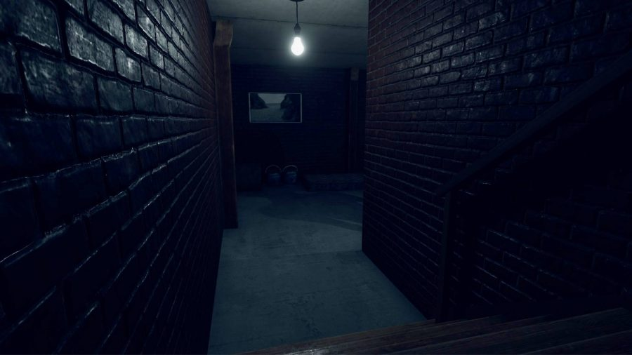 A dark room with a light and two brick walls