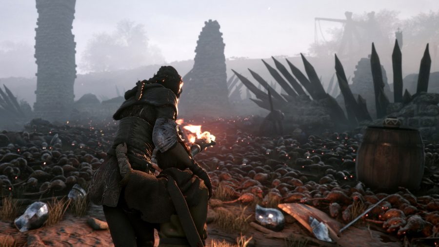 a young woman holding a torch to navigate some rats from Plague Tale Innocence one of the best rat games on pc