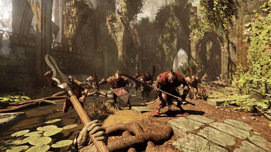 some armoured rats holding spears from vermintide 2 one of the best rat games on PC