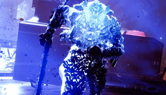 A Destiny 2 Titan running through Europa while cloaked in ice