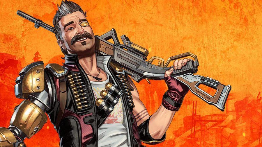 Взрыватель держит пистолет 30-30 Repeater перед стилизованной версией разрушенной карты Kings Canyon из 8-го сезона Apex Legends.