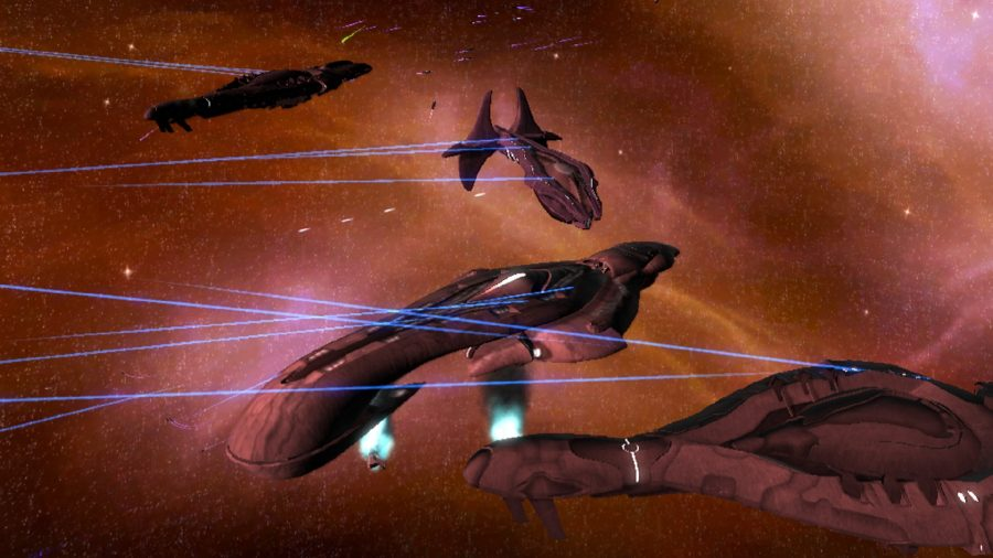 Covenant ships fire off-screen laser weapons
