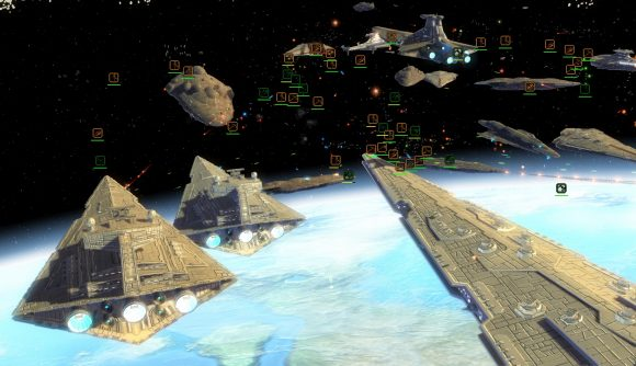 an imperial and a new republic fleet face of above a planet