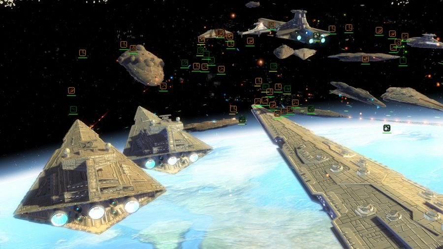 Face a new imperial and republican fleet over a planet