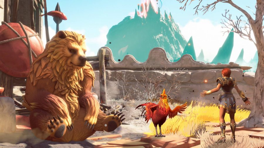 Fenyx speaking to a bear and a chicken in Immortals Fenyx Rising