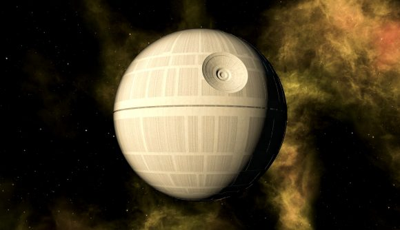 the death star hanging in space