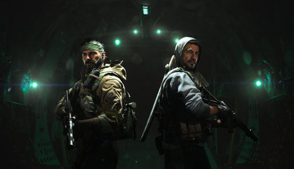 Two operators standing back to black in Warzone