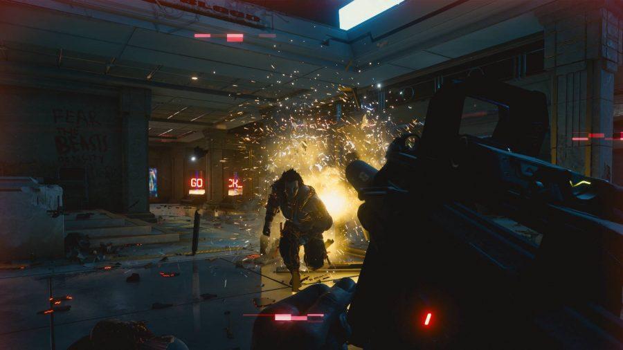 Enemy running across the room towards an armed V in Cyberpunk 2077