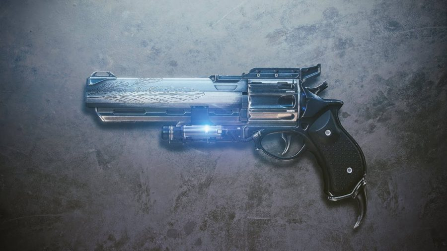 The Hawkmoon exotic weapon in Destiny 2. It's a hand cannon with some really detailed etching of wings on the barrel.