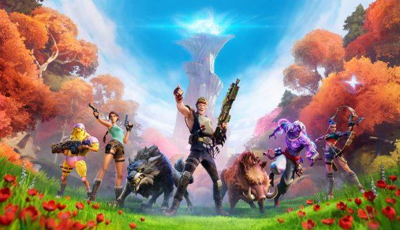 Fortnite Season 6 bosses - Fortnite characters assembling in front of The Spire