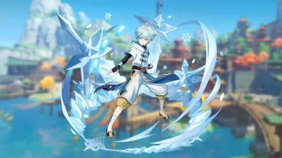 Genshin Impact's Chongyun conjures a whirl of ice around him