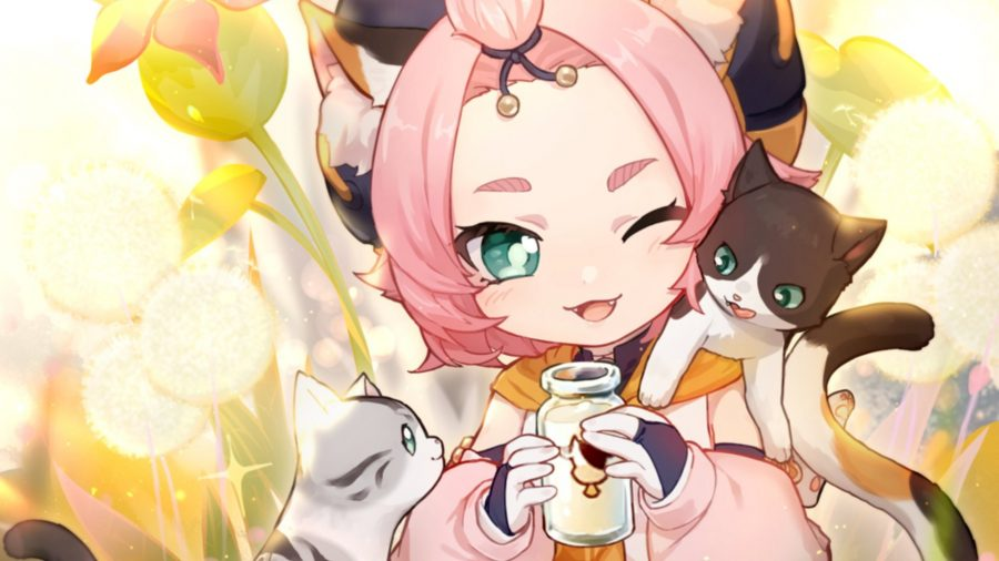 Genshin Impact Diona feeds two adorable cats