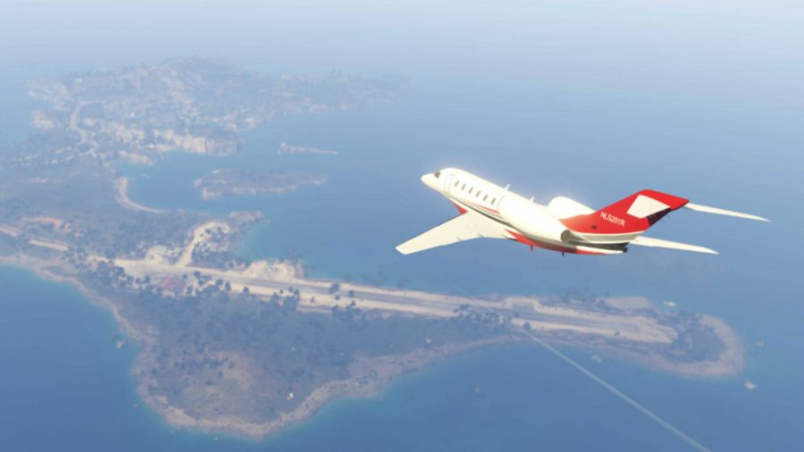 A plane flying over Cayo Perico in GTA