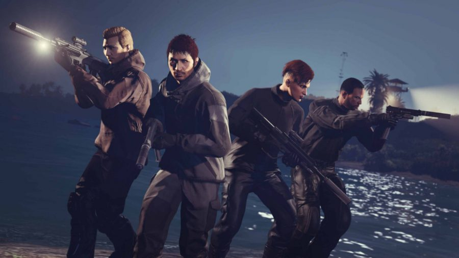 A group of would-be thieves with all the new GTA Cayo Perico Heist weapons.