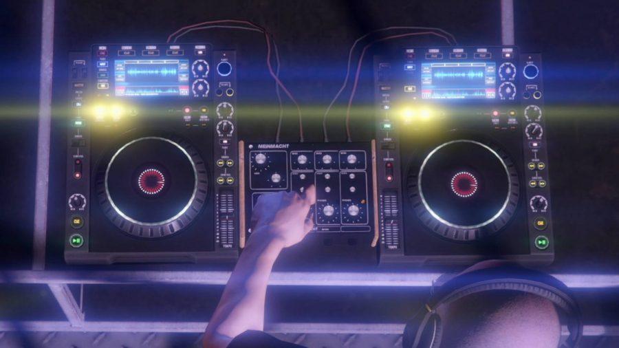 A DJ playing a brightly lit music deck in The Music Locker club in GTA