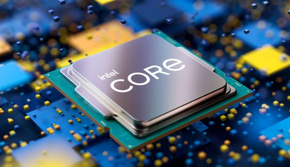 The CPU lid of an 11th gen Intel processor