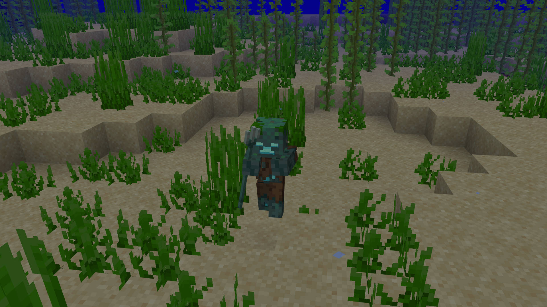 A drowned, which is an underwater zombie, holding a Minecraft trident.