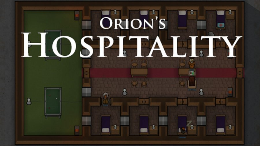 the title card for the rimworld mod orion's hospitality,