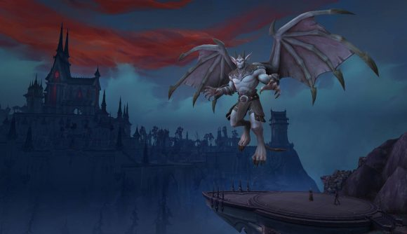 A creature hovering over Castle Nathria in the background
