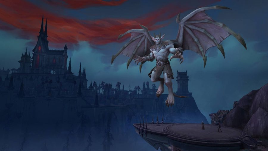 A creature hovering over the castle of Nathria in the background