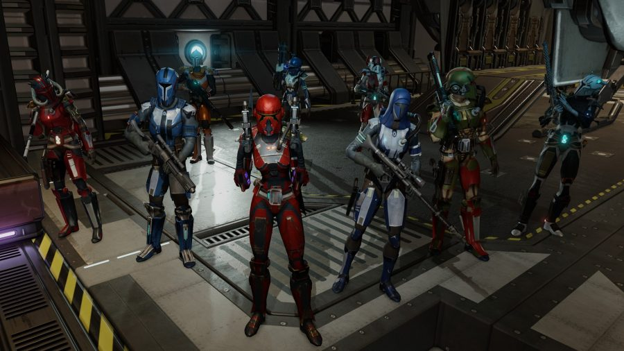XCOM 2 soldiers in Mandalorian gear pose on the gangway