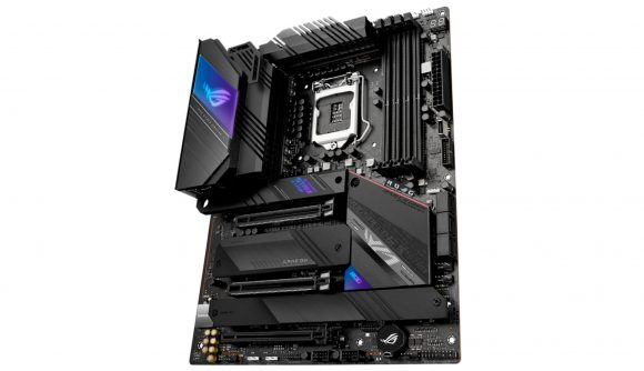 Asus shows off its new Z590 motherboard complete with black base paint and RGB LEDs