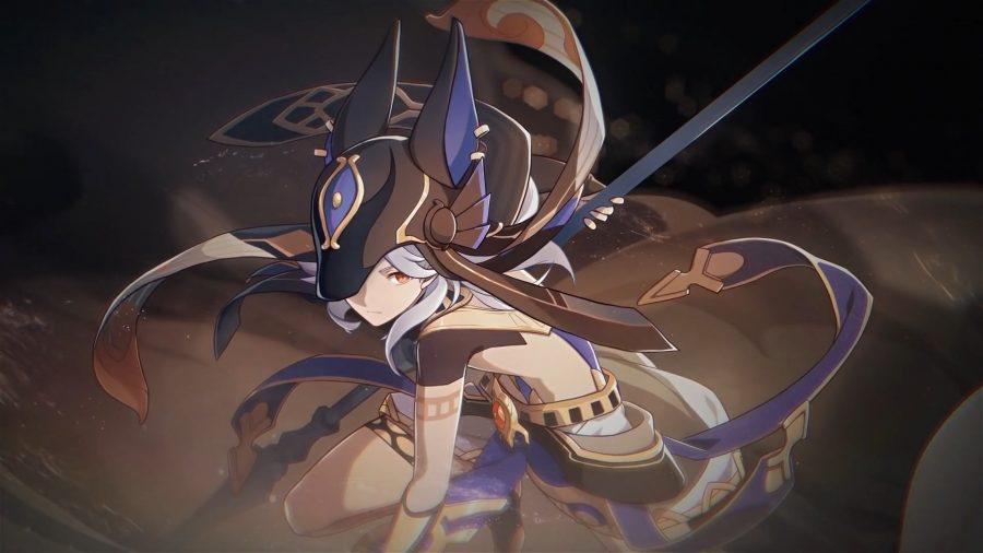 Genshin Impact Cyno crouching in whirling sand