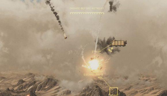 a ship flying above the desert firing weapons