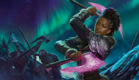 Promotional art of Kaya the Inexorable, one of the planeswalkers from the new Magic: The Gathering set Kaldheim. Her card's ability is related to the card Valor of the Worthy - today's card reveal.