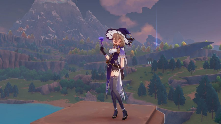 Lisa, one of the free characters in Genshin Impact, is an electric witch with a witch hat.  She is the collection librarian and has a decent build for beginners.