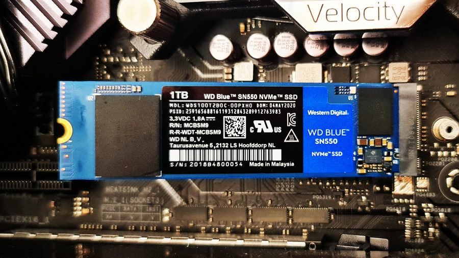 WD Blue SN550 NVMe SSD is plugged into a motherboard and ready to be used