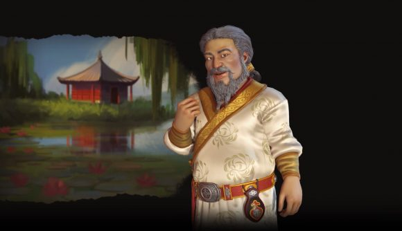 kublai khan standing in front of black backdrop, fist clenched