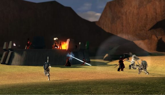 A cast of Dark Souls characters duking it out on Halo's Blood Gulch map