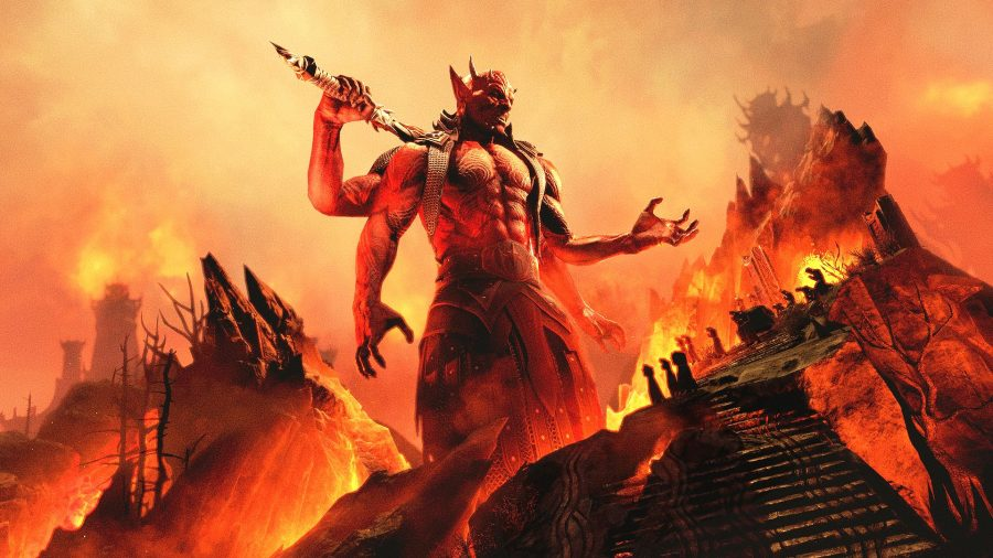 Mehrunes Dagon surrounded by fire in the Deadlands