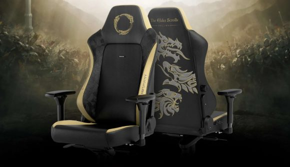 Black and gold-themed noblechairs gaming chair, with the ESO logo on the headrest and a dragon emblem on the rear of the chair